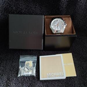 Michael Kors Layton World Map Silver-Tone Watch
